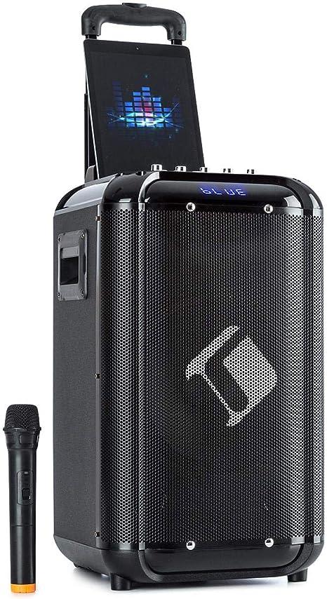 Tecnologia XMR-Bass: Woofer da 10 25,4 cm Sistema karaoke 50 W Potenza Nominale Tweeter da 3 auna Moving 100 mobile 10 150 W Sistema PA Nero Microfono UHF Wireless Supporto Smartphone