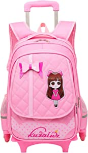 Fanci Cute Bowknot Waterproof Rolling School Bag Backpack on Wheels Princess Style Trolley Wheeled Backpack Carry on Luggage With Six Wheels Climbing Stairs