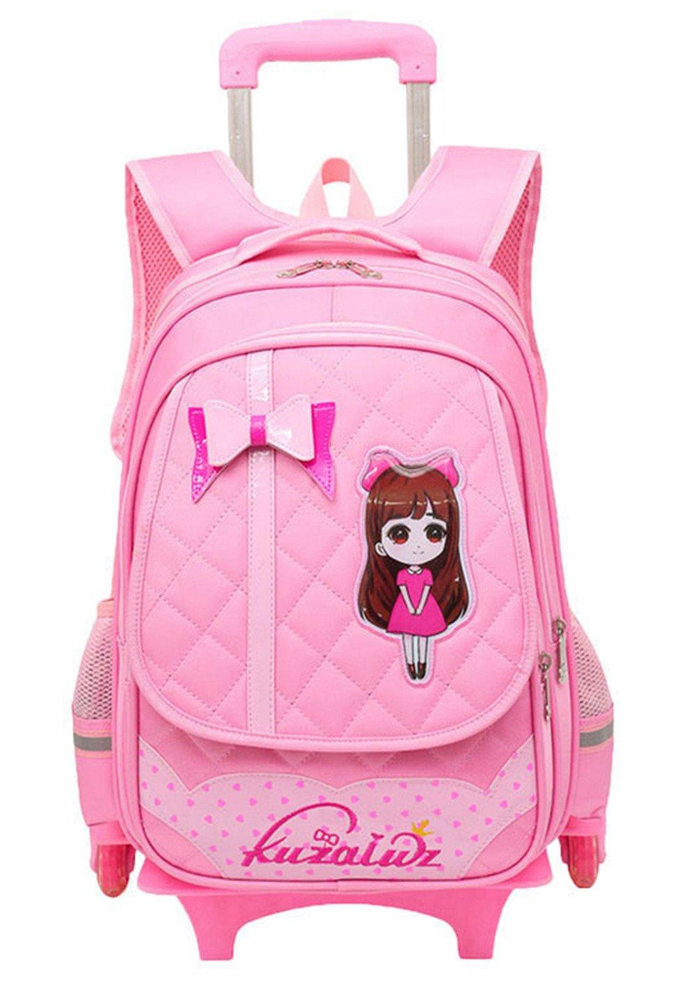 9c3cc9132e Fanci Cute Bowknot Waterproof Rolling School Bag Backpack on Wheels  Princess Style Trolley Wheeled Backpack Carry ...