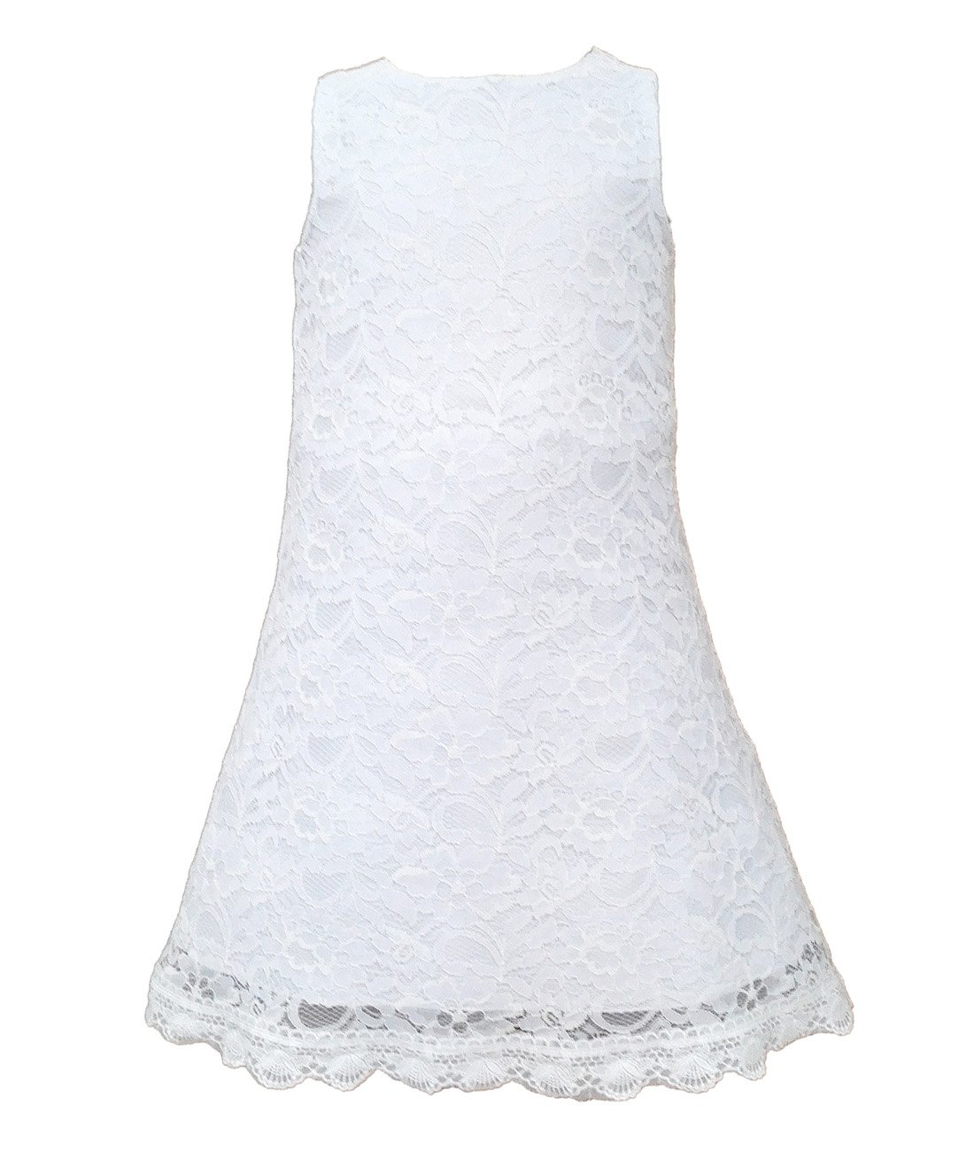 Funtrees Little Miss Lace Overlay A-Line Sleeveless Dress Size 4-5T White