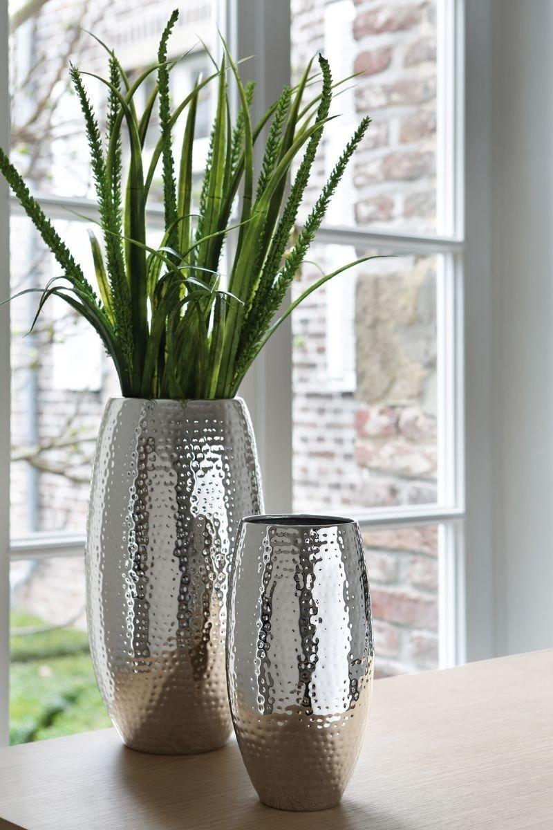 Fink - Vase Blumenvase - Africa - vernickelt - gehämmert gehämmert gehämmert - Höhe 40 cm - Ø 21 cm f2f869