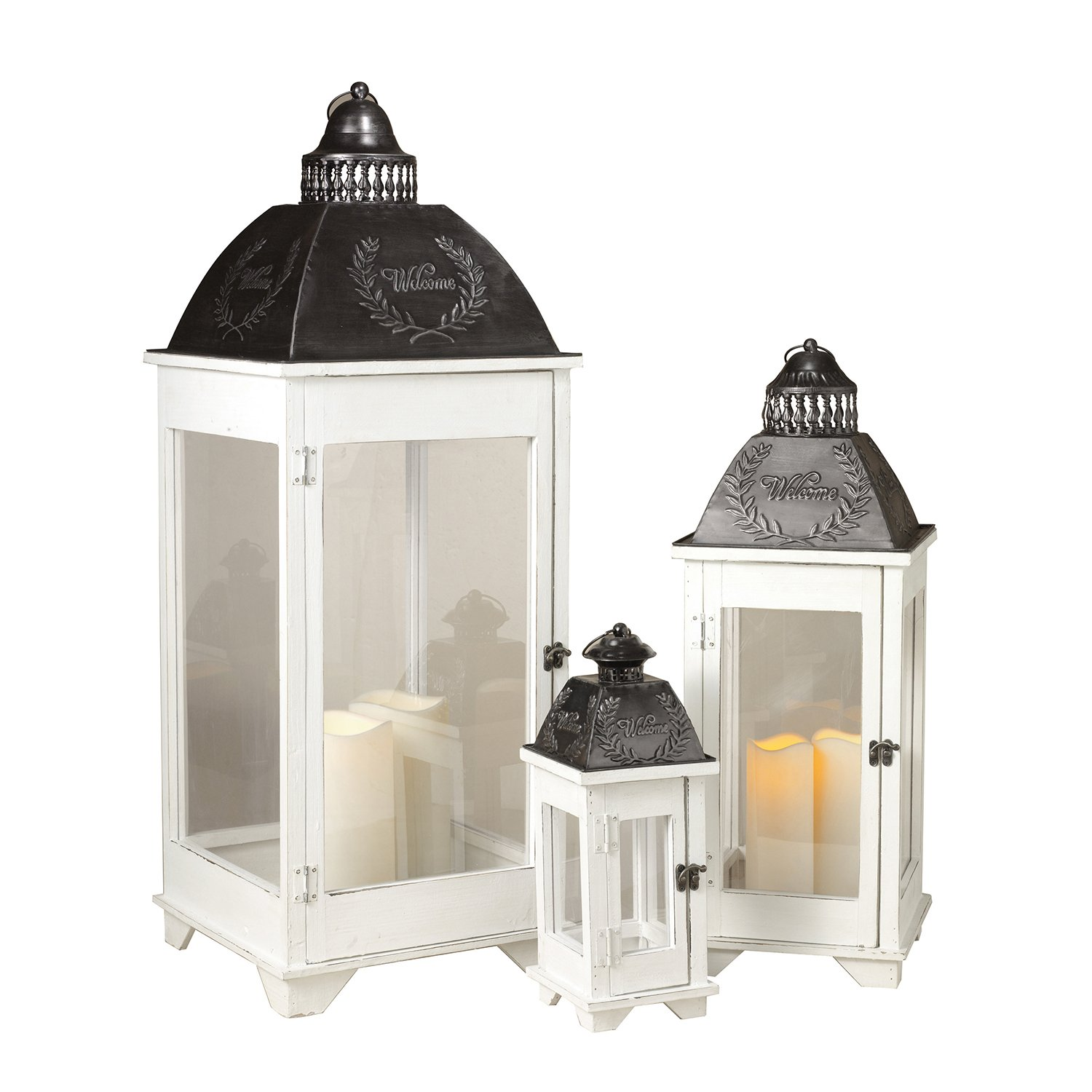 Large Tall White Rustic Metal and Wood Nesting Candle Lanterns Set of 3 Decor