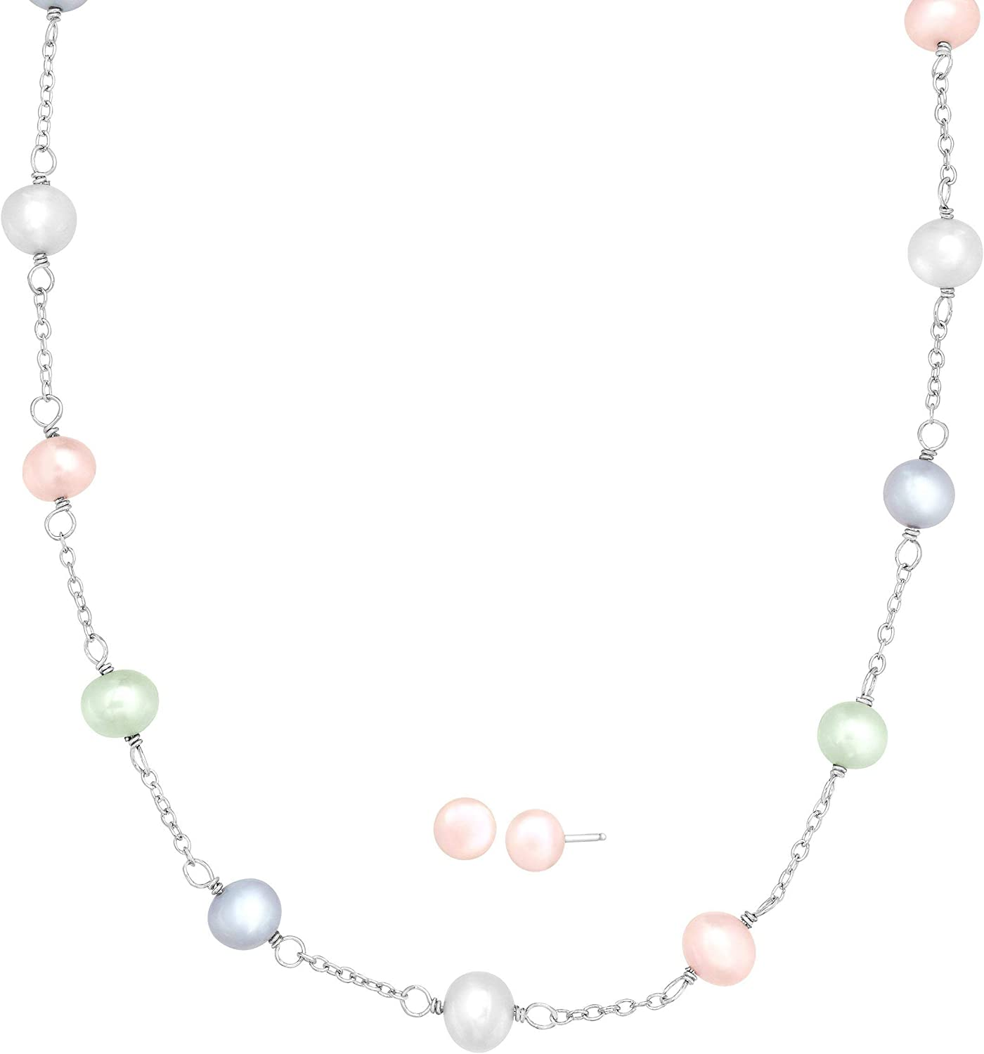 Sterling Silver Freshwater Black Cultured Pearl Station 18 Necklace