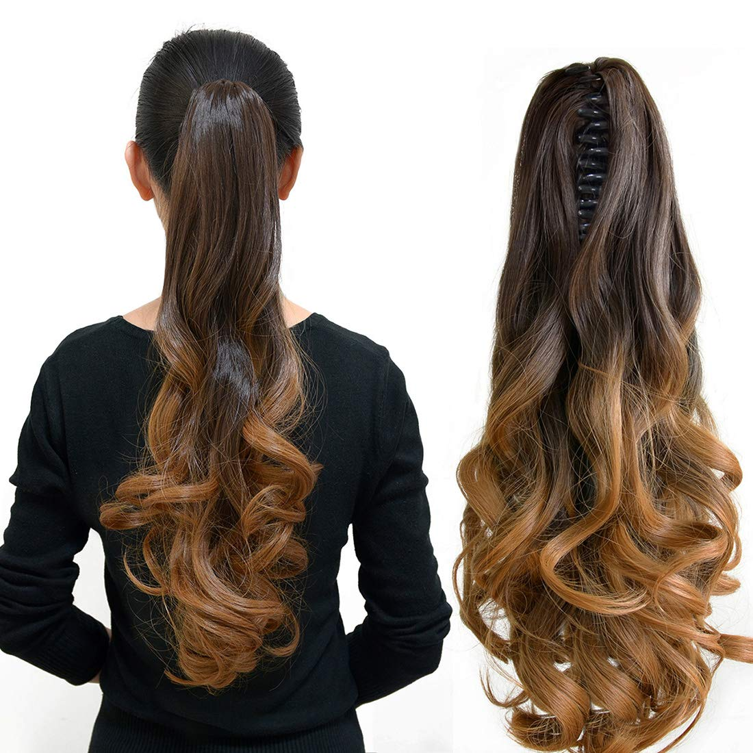 Amazon Com Neverland Beauty 20 50cm Natural Ombre Look Two Tone Long Big Wavy Claw Curly Ponytail Clip In Hair Extensions 6 27 Beauty