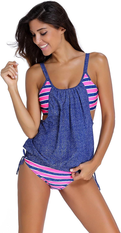 Aleumdr Tankini Damen bauchweg Bademode Set zweiteilig Push up mit Einstellbarer Bikinislip Tankini Top Soft Cups S-XXXL