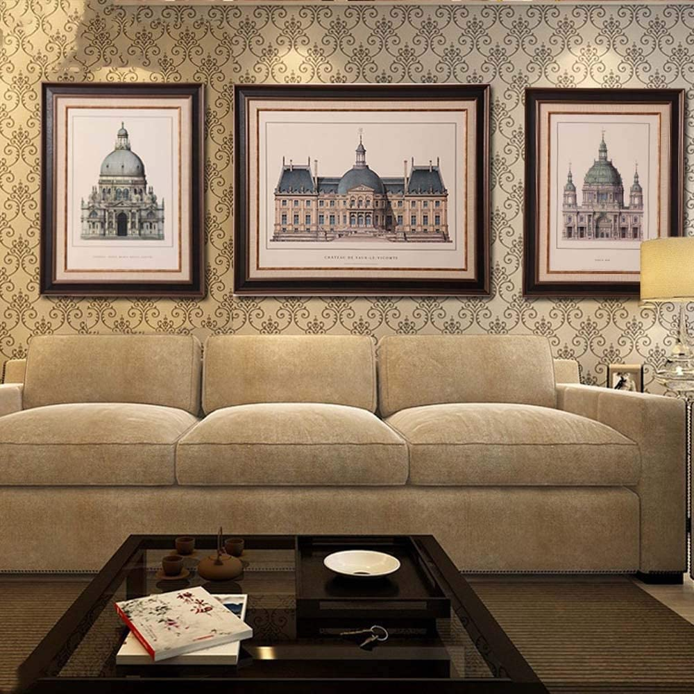 ZHQJP Aアメリカのレトロ建築装飾的な絵画リビングルームのソファの壁画(数量:3)
