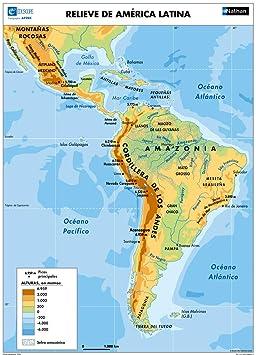 Carte Amerique Sud Capitales.Carte Amerique Latine En Espagnol Relief Politique Etats