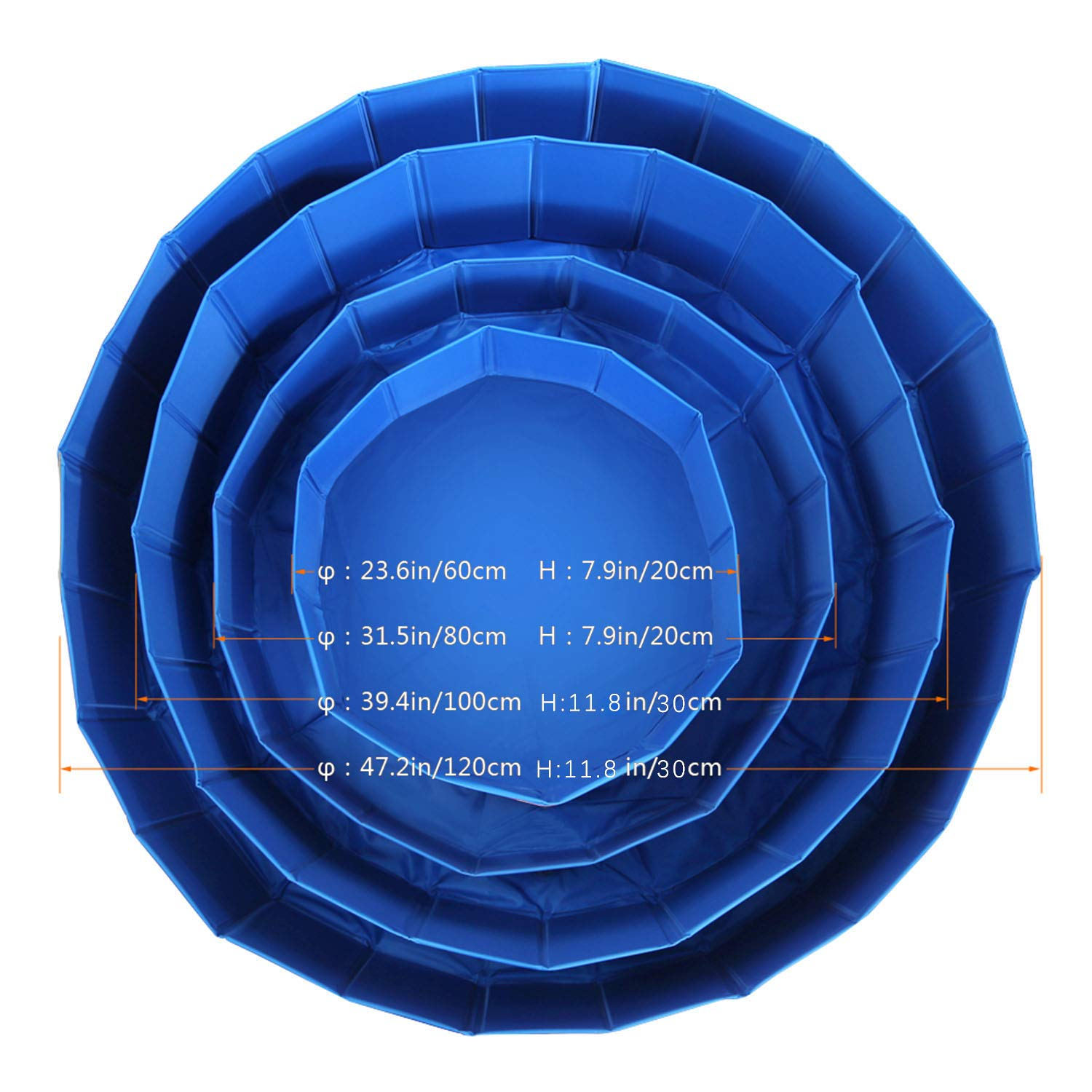 Fuloon Foldable Dog Paddling Pool Puppy Cats Swimming Bathing Tub Pet Children Kid Ball Water Ponds by Fuloon (Image #6)