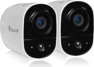Toucan Outdoor Security Camera Wireless 2 Packs, Angle Wide View 131° Full HD 1080P, Night Vision, Weather Resistant, 2 Way Audio with App, Motion Detection, WiFi 2.4 Ghz, Wire-Free, Siren Alarm