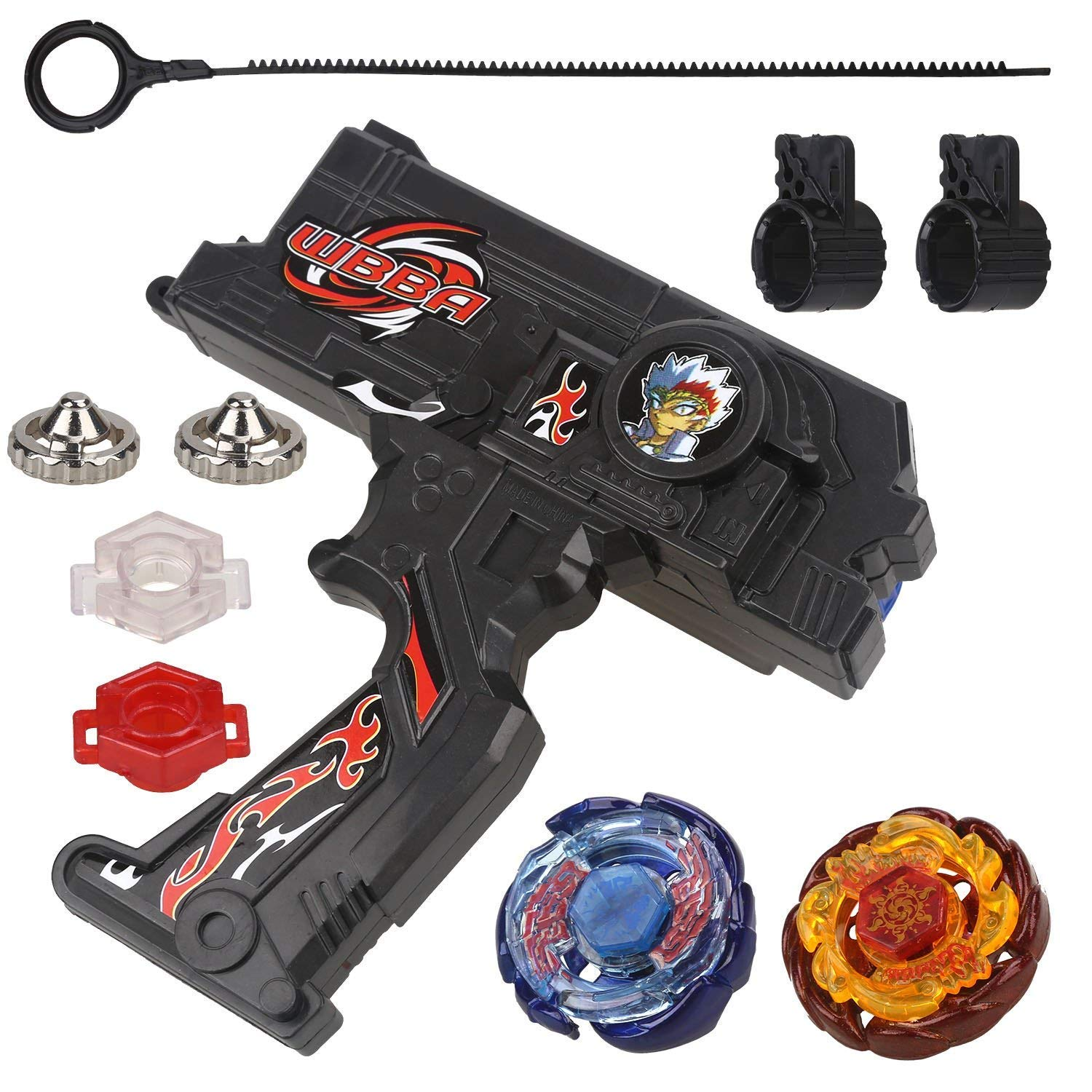 Bey Battling Blades Game Metal Fusion Set, Duotron Dual Launcher / Ripper, Black WBBA Version