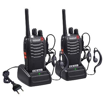 Proster Walkie Talkie Recargables 16 Canales Walky Talky Profesionales PMR446 CTCSS DCS Función VOX BF-888S Emisoras Radios Gran Alcance con ...