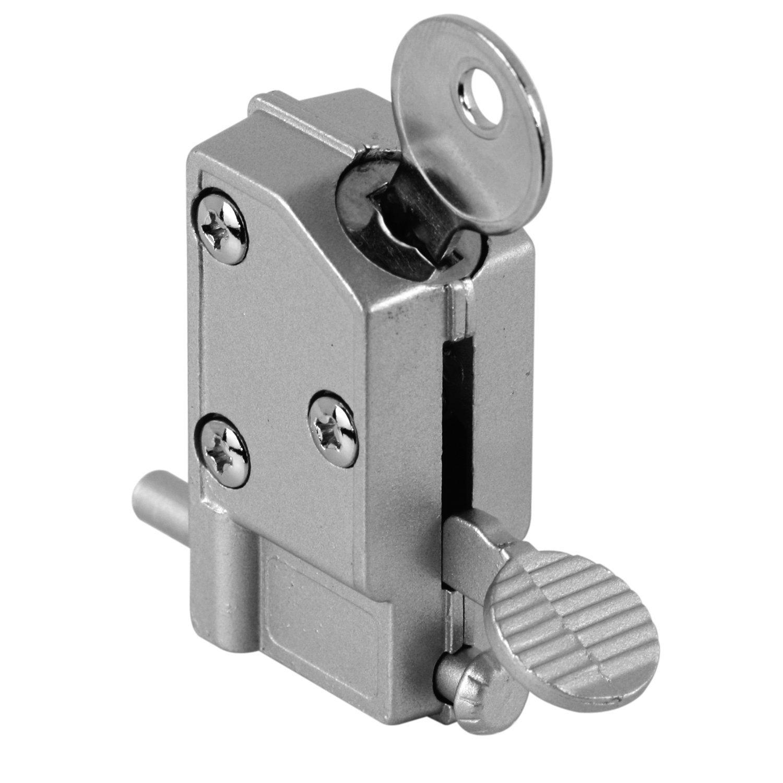 Prime-Line MP4046 Sliding Door Lock, 5/8 in, Diecast w/Hardened Steel Bolt, Aluminum, Step-On, Pack of 1