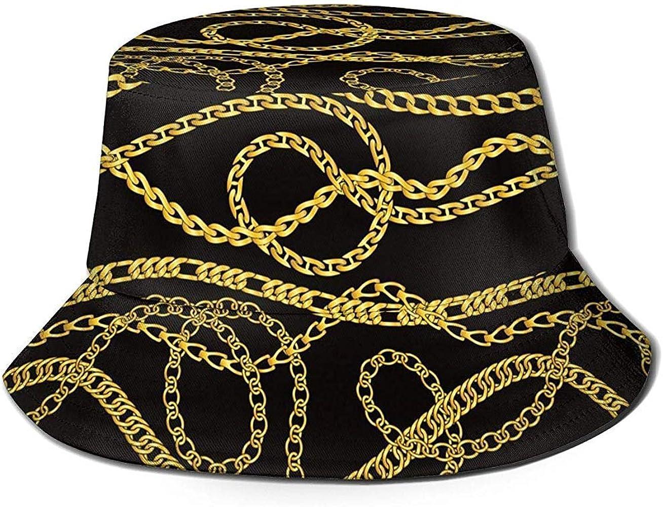 WowMyGod Cadenas y Collares de Oro Sombrero de Cubo Verano UV Sol ...