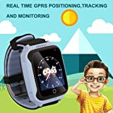 1.44 '' Touch Smart Watch Bambini Tefelono Orologio Intelligente con SIM Card Slot,Anti-Perso Localizzatore SOS Call Finder Kids Smart Bracciale con Torcia Elettrica Per iOS Android,M05 (Blu)