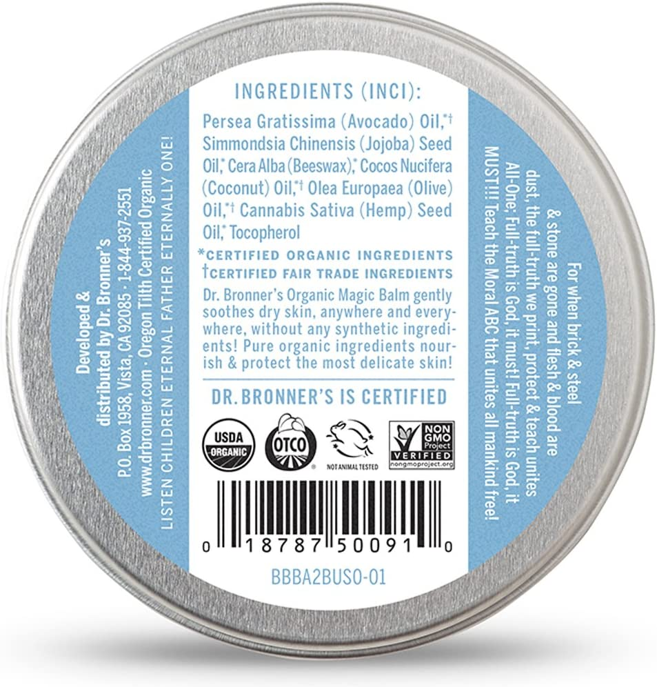 Dr. Bronner's - Organic Magic Balm (Baby Unscented, 2 Ounce) - Made with Organic Beeswax and Hemp Oil, Moisturizes and Soothes Hands, Face and Body, Relieves Dry Skin, Helps Prevent Diaper Rash