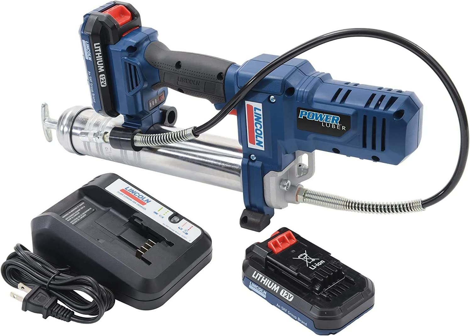 Lincoln 1264 Battery Powered PowerLuber 12 Volt Lithium Ion 8,000 PSI Cordless Grease Gun 2 Battery Kit