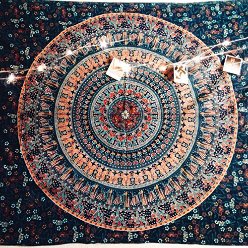 JaipurHandloom Elephant Tapestries Wall Hanging , Indian Mandala Tapestry Bedspread , Dorm Tapestry, Decorative Wall Hanging , Tapestries for Dorms