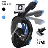 Unigear 180° Full Face Snorkel Mask -Panoramic View with Detachable for Camera Mount and Earplug,Anti-Fog Anti-Leak Snorkeling Design for Adults and Youth
