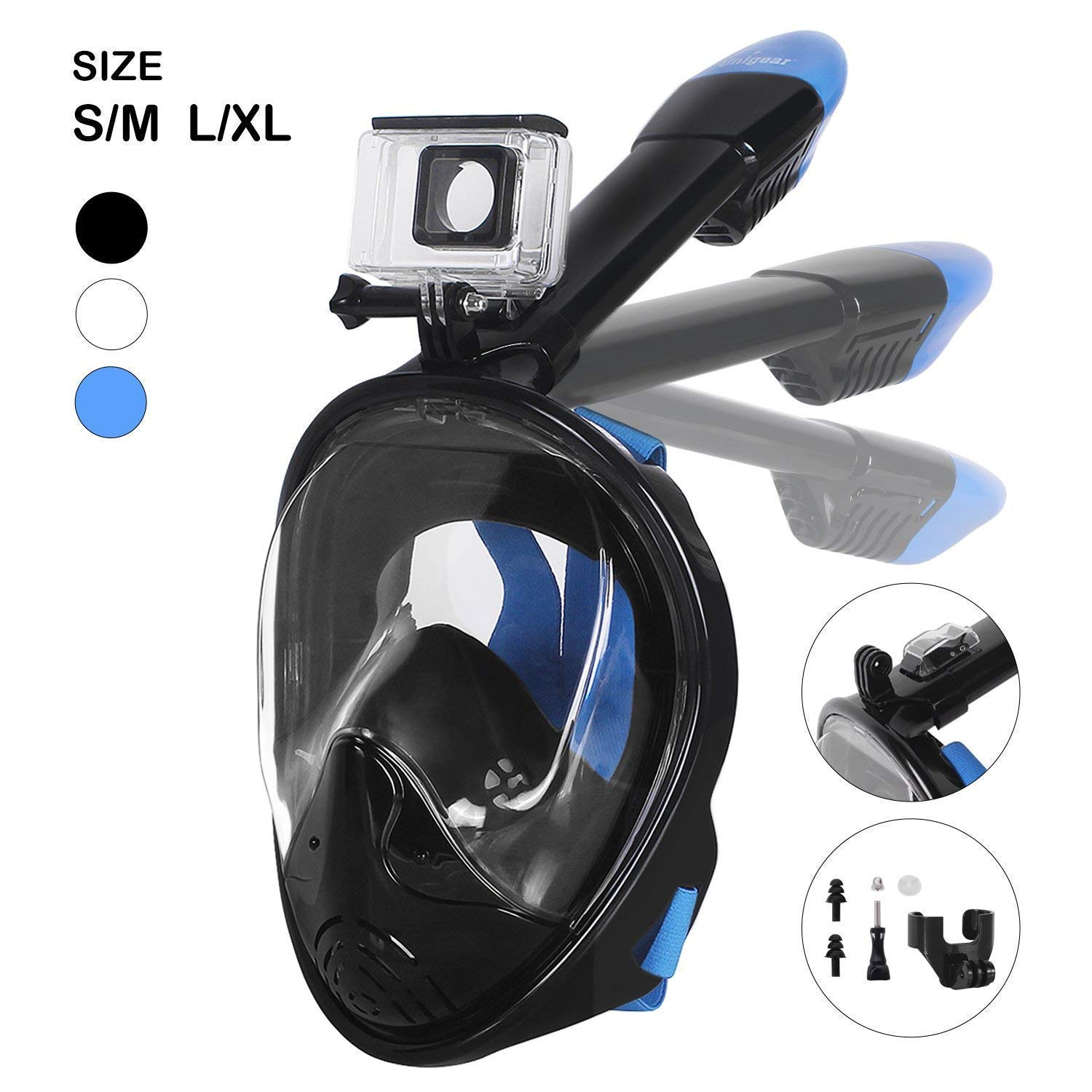 Unigear 180° Full Face Snorkel Mask -Panoramic View with Detachable for GoPro Mount and Earplug,Anti-Fog Anti-Leak Snorkeling Design for Adults and Youth