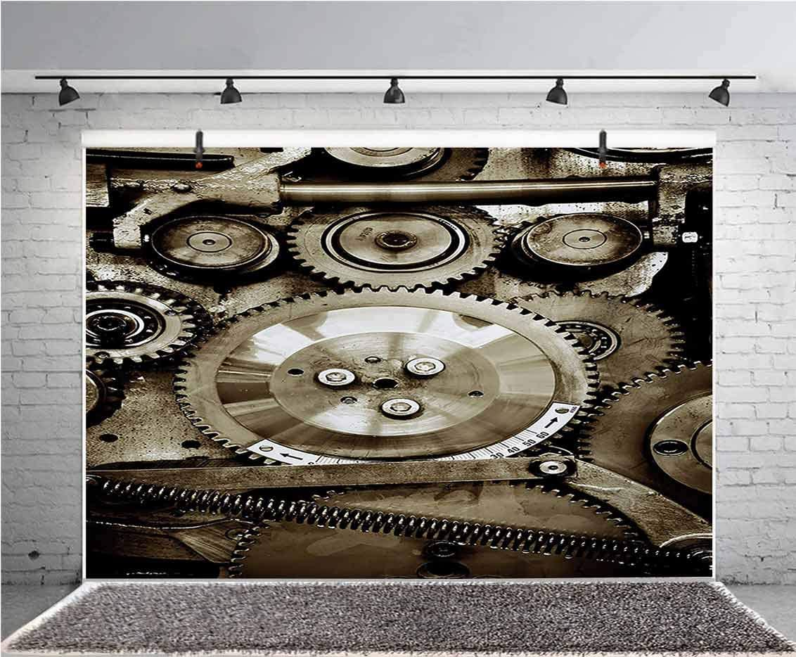 Industrial 12x10 FT Vinyl Photo Backdrops,Pieces of Old Mechanism Close Up Gears View Grunge Antique Cogs Technical Image Print Background for Child Baby Shower Photo Studio Prop Photobooth Photoshoot