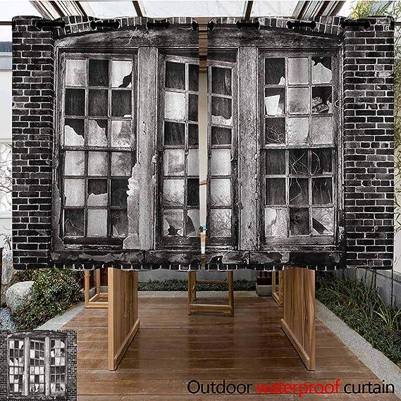 AndyTours Cortina de Puerta corredera, Industrial, Ventana Rota, Panel de Cristal de desaparición, Pared de ladrillo de fábrica, Simple, Elegante, Gris carbón pálido: Amazon.es: Jardín