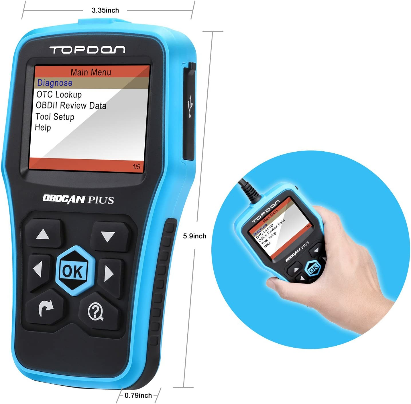 OBD2 Scanner TOPDON Elite Professional Auto ABS SRS Transmission and Engine Scan Tool Update Online for OBDII Standard Vehicle