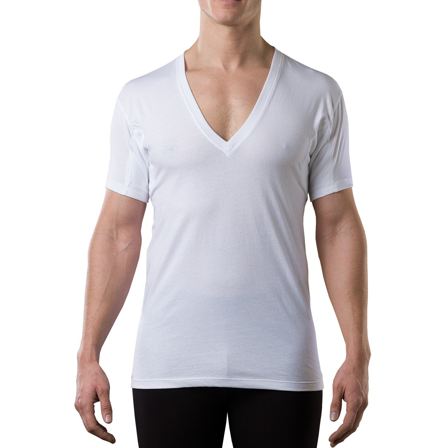 Sweatproof Undershirt for Men w/ Underarm Sweat Pads (Original Fit, Deep V-Neck) by T THOMPSON TEE