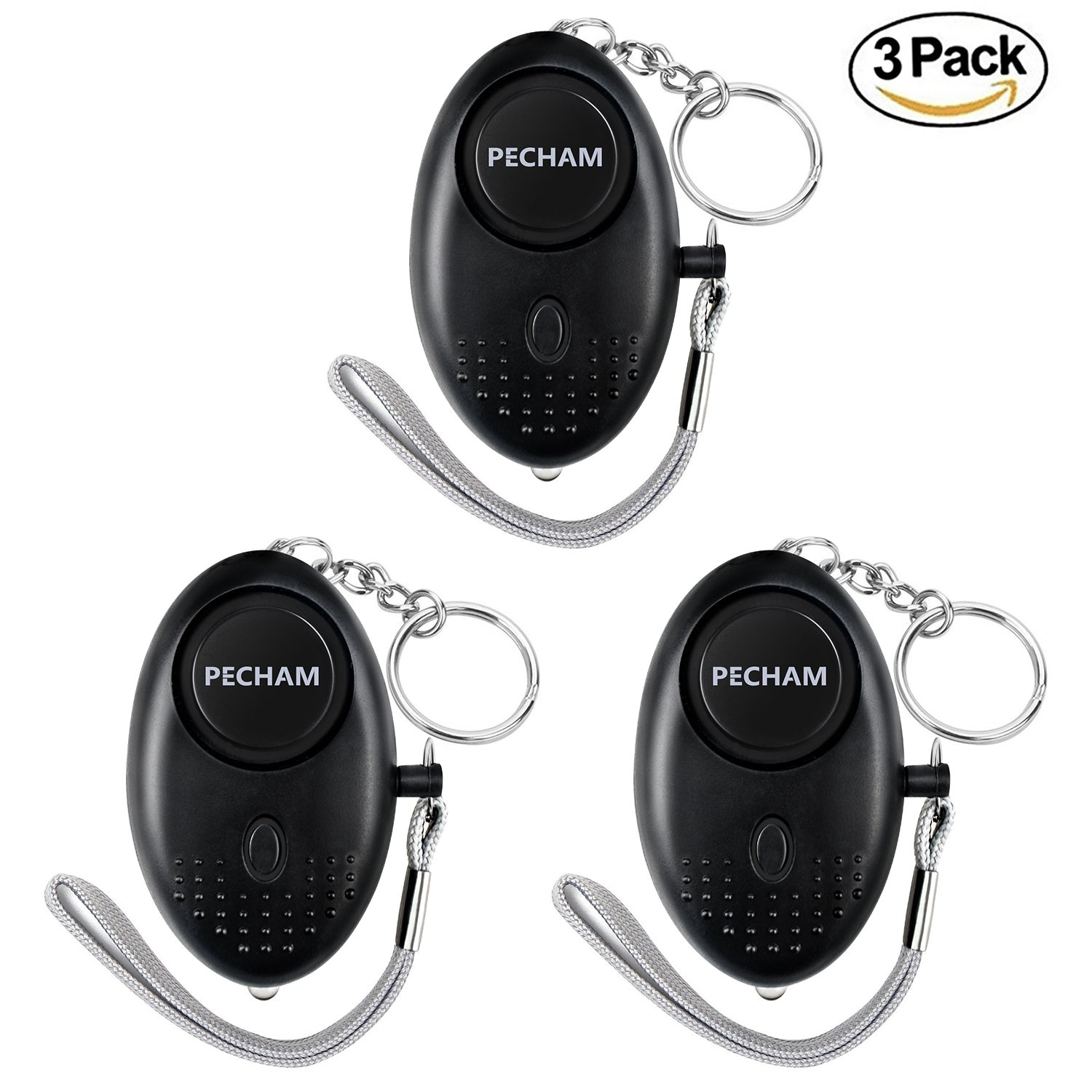PECHAM 3Pack Safesound Personal Alarm Keychain, 130dB Personal Safety Alarms Women Self Defense, Personal Portable Security Alarms LED Lights by PECHAM (Image #1)