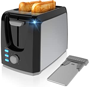Toaster 2 Slice Best Rated Prime Toasters Evenly and Quickly Stainless Steel Black Bagel Toaster with 2 Wide Slots 7 Shade Settings and Removable Crumb Tray for Bread Waffles