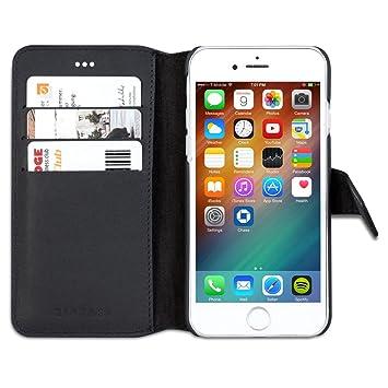KANVASA Funda iPhone 6 / 6s Cartera Piel Negro Vintage Carcasa Tipo Libro Folio en Cuero Piel Genuina para Apple iPhone 6/6s (4.7