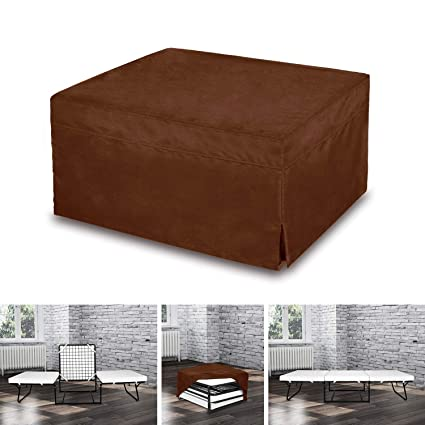 Space Innovations Folding Ottoman Sleeper Guest Bed Brown