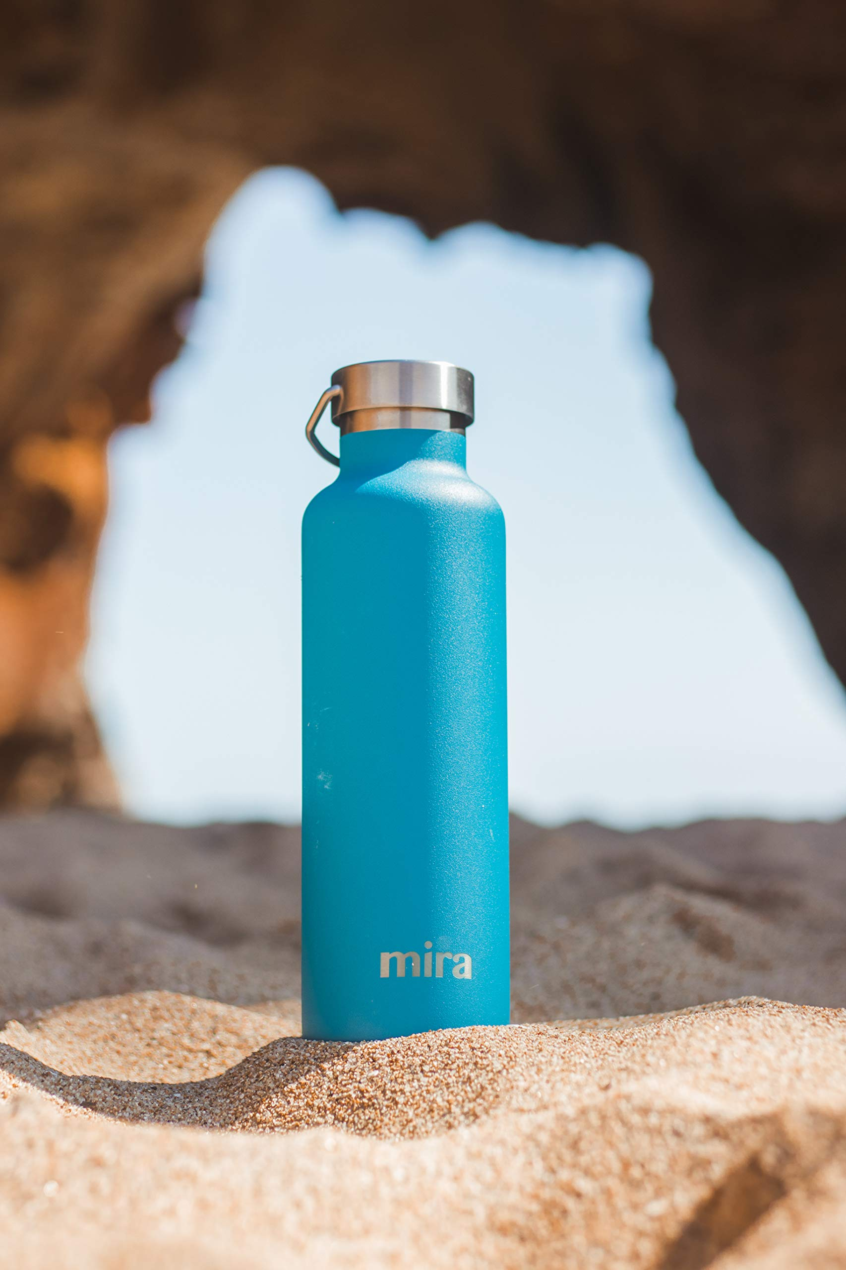 MIRA Alpine Stainless Steel Vacuum Insulated Water Bottle with 2 Lids, Durable Powder Coated Thermos | 17 oz (500 ml) | Hawaiian Blue