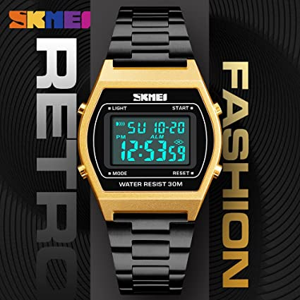 Reloj de pulsera para hombre, color dorado y negro, para actividades al aire libre, deportivo, digital, ...