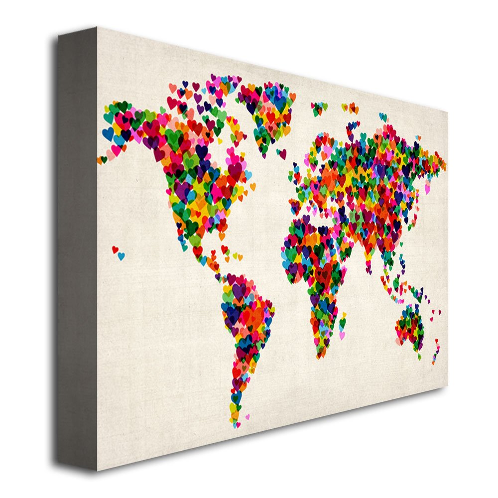Amazon hearts world map by michael tompsett 22x32 inch canvas amazon hearts world map by michael tompsett 22x32 inch canvas wall art prints posters prints gumiabroncs Image collections
