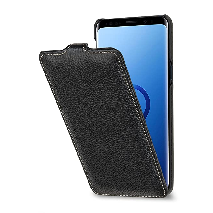 huge discount 7fef0 476cb StilGut Samsung S9 Case. Slim Vertical Leather Flip Cover for Samsung  Galaxy S9, Black