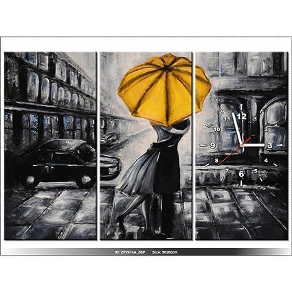 Art-Gallery XXL – 90 x 60 cm – enamorados y paraguas – Reloj de