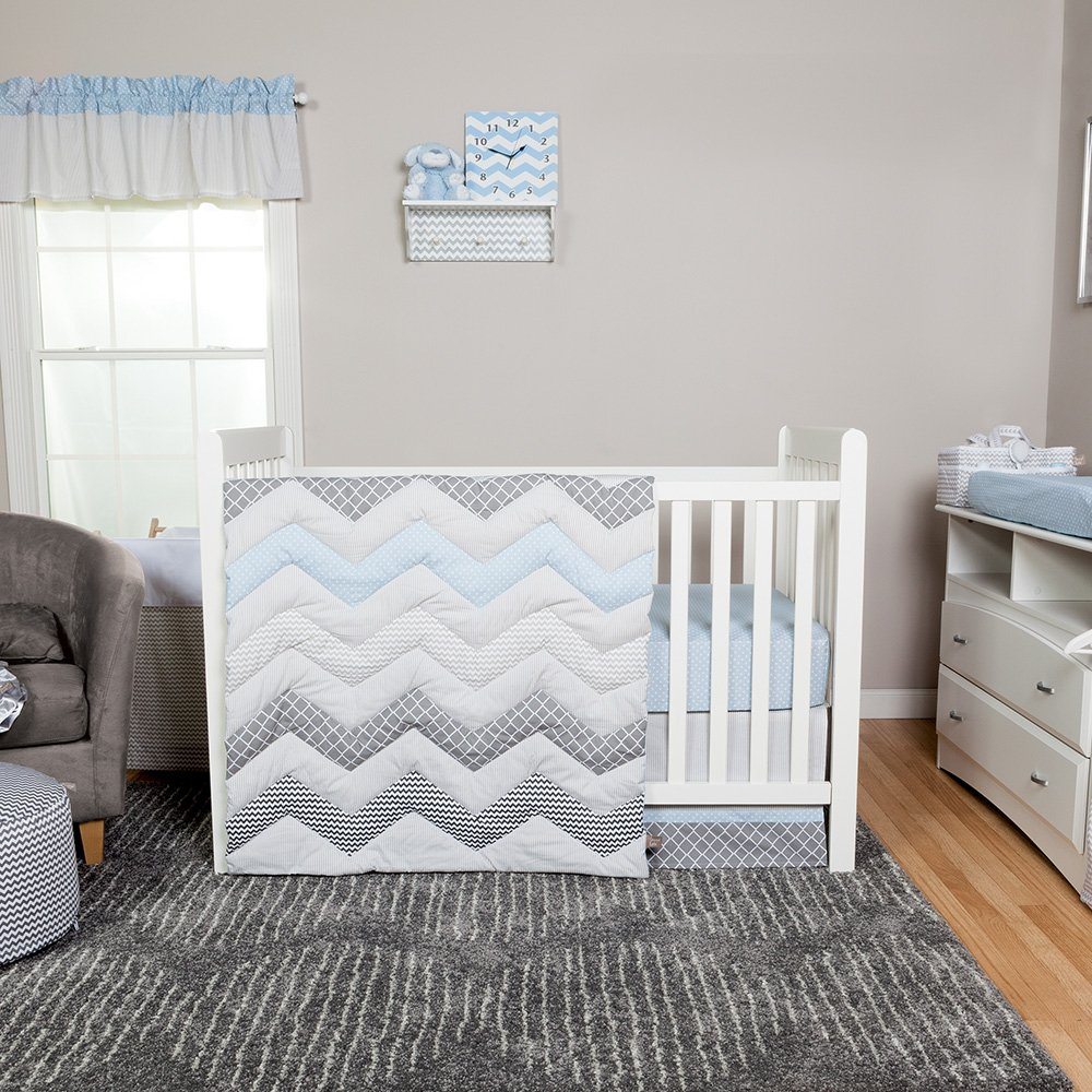 Trend Lab Chevron 3 Piece Crib Bedding Set, Blue Taffy 101024