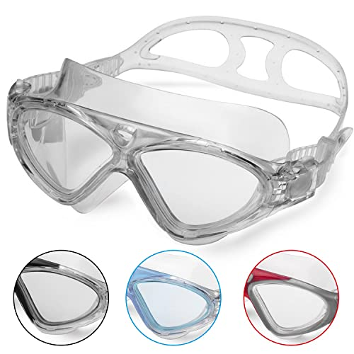 Lunettes de Natation - Lunettes de Piscine Adultes Transparents Antibuée Etanches Protection UV Réglables Vision 180 Degrés - Idéales pour Hommes et Femmes