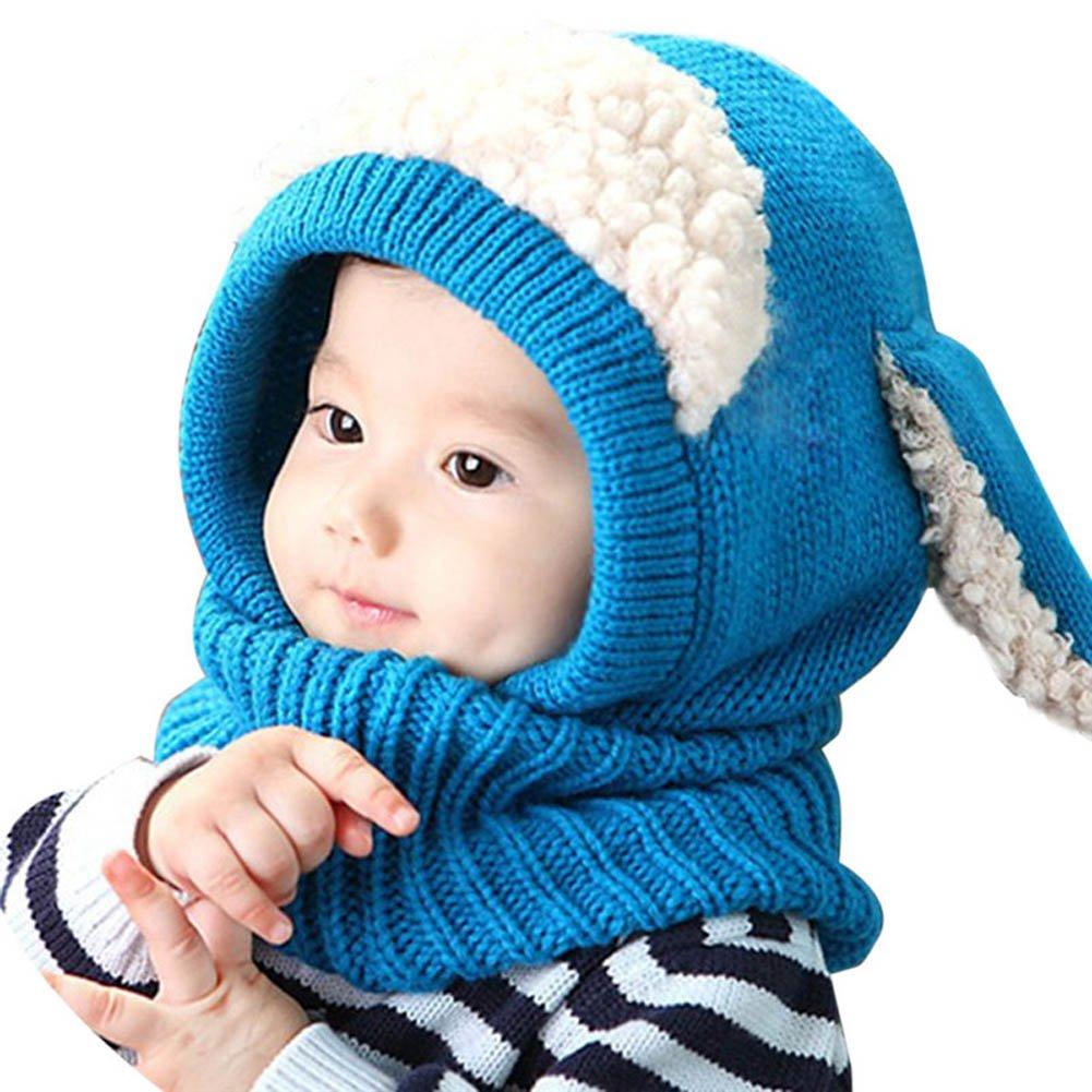 Cagoule garçons filles bébé enfant Bonnet en laine tricoté chaude écharpe Casquettes Chapeaux Automne-hiver