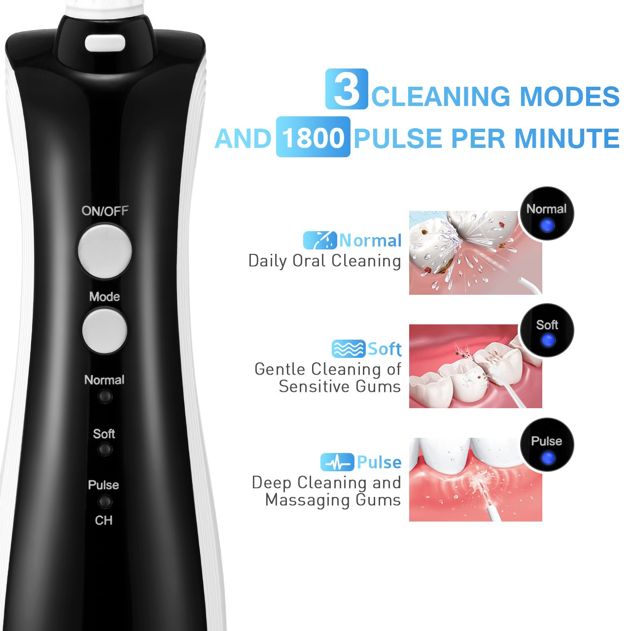 [UPGRADED] 330ML Cordless Water Flosser Teeth Cleaner, ELLESYE High Pulse Rechargeable Portable Oral Irrigator for Travel & Office Use, IPX7 Waterproof Dental Flosser for Shower with 2 Tips for Family by ELLESYE (Image #4)