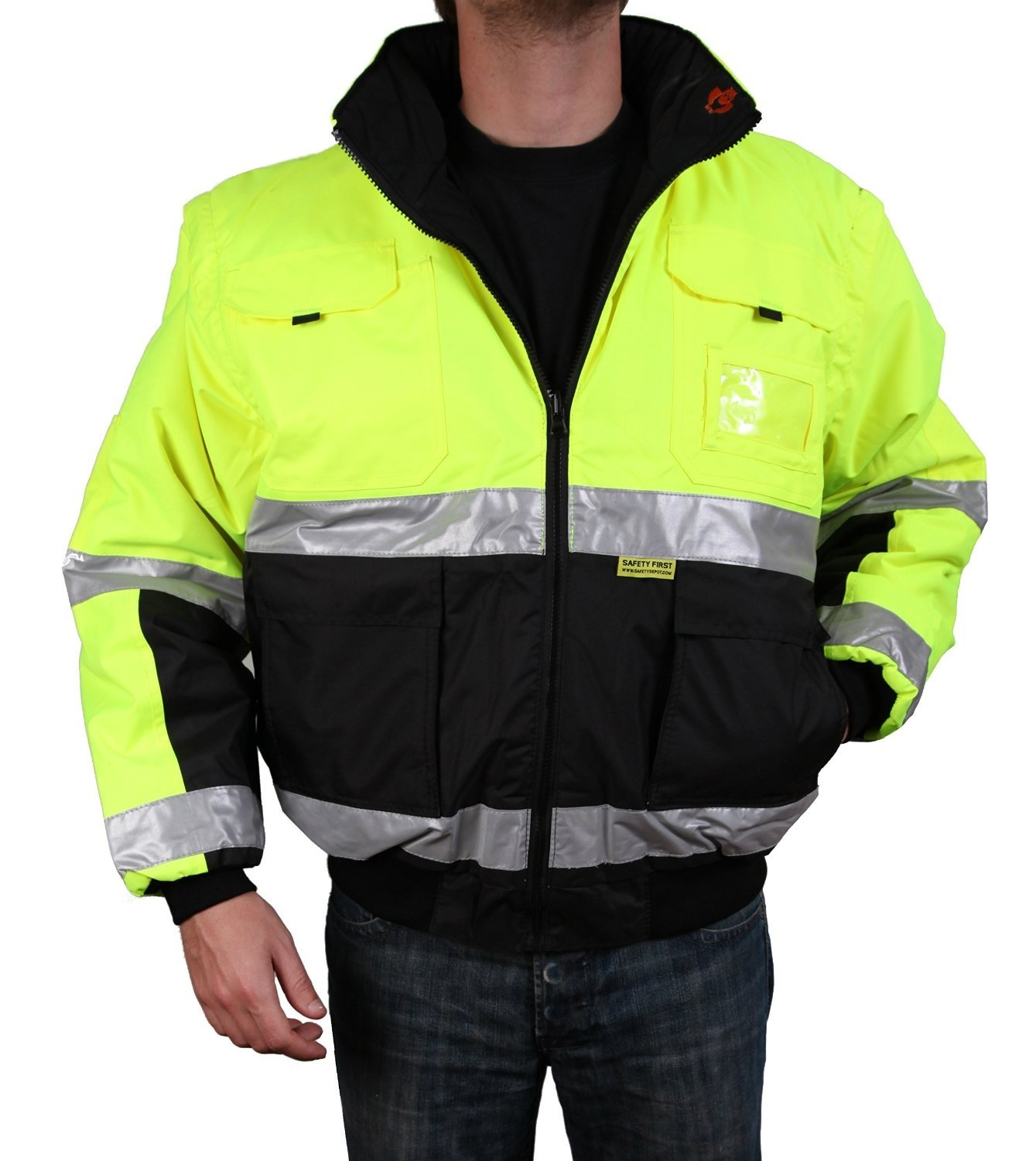 Safety Depot Safety Jacket Class 3 ANSI Approved 8 Pockets, Reversible Clear ID Pocket, Detachable Hood & 4 Pen Divider slots 350C (Lime, Large) by Safety Depot