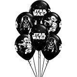 Qualatex Star Wars Biodegradable Latex Balloons Onyx Black with White Prints All-Around of Darth Vader and Yoda, 11-Inch Roun