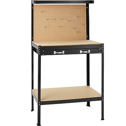 TecTake Banco de trabajoMesa de trabajo para taller bricolaje pared herramientas cajón - varias tamaños (Typ 2 | 81 x 41 x 145 cm | 402749)