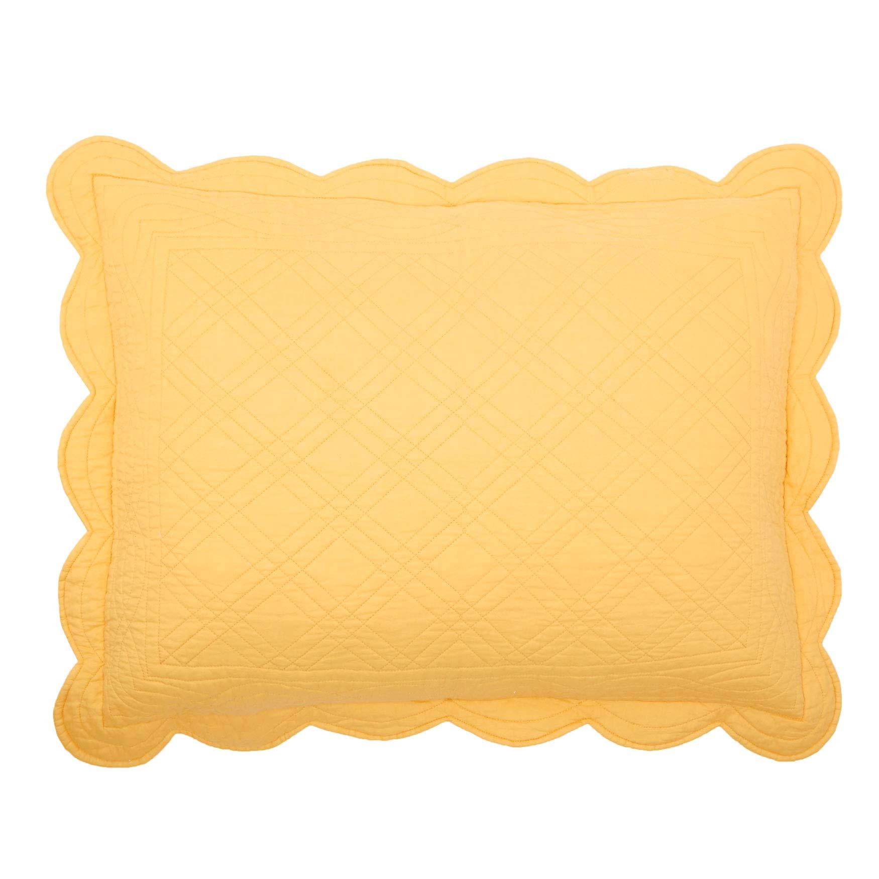 BrylaneHome Florence Sham - Dandelion Yellow, Stand