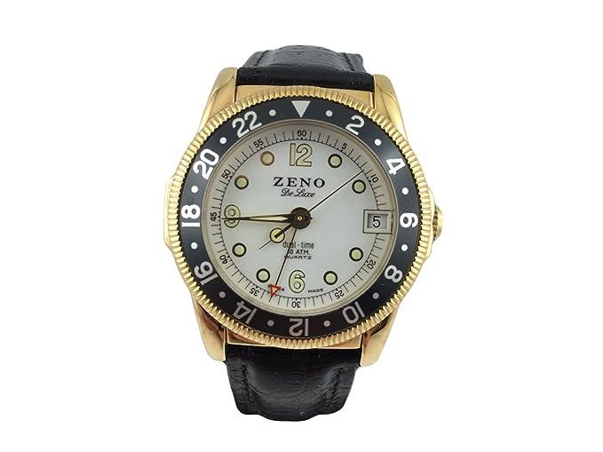 Reloj Suiza Zeno, GMT clásico, pulsera cuero, luneta ajustable, chapado en oro: Amazon.es: Relojes