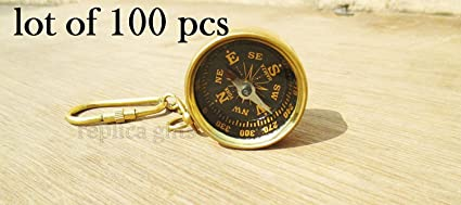 Brass Compass Keychain Marine Nautical Key Ring Bulk Wholesale Lot of 100 Pcs