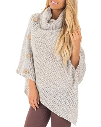 45b046aaa4fb Amelitory Women s Turtleneck Cable Knit Button Poncho Capes Pullover ...
