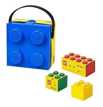 Azul Lego Lunch Box/caja de almacenamiento con mango + Mini cajas de almacenamiento: Amazon.es: Oficina y papelería