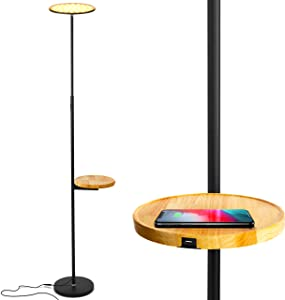 Brightech Sky Ultra LED Floor Lamp- Wireless Charging and Table Top Shelf- Tall Standing Torchiere Lamp with Bright Light- Perfect for Living Room, Bedrooms, Office, Den- Black