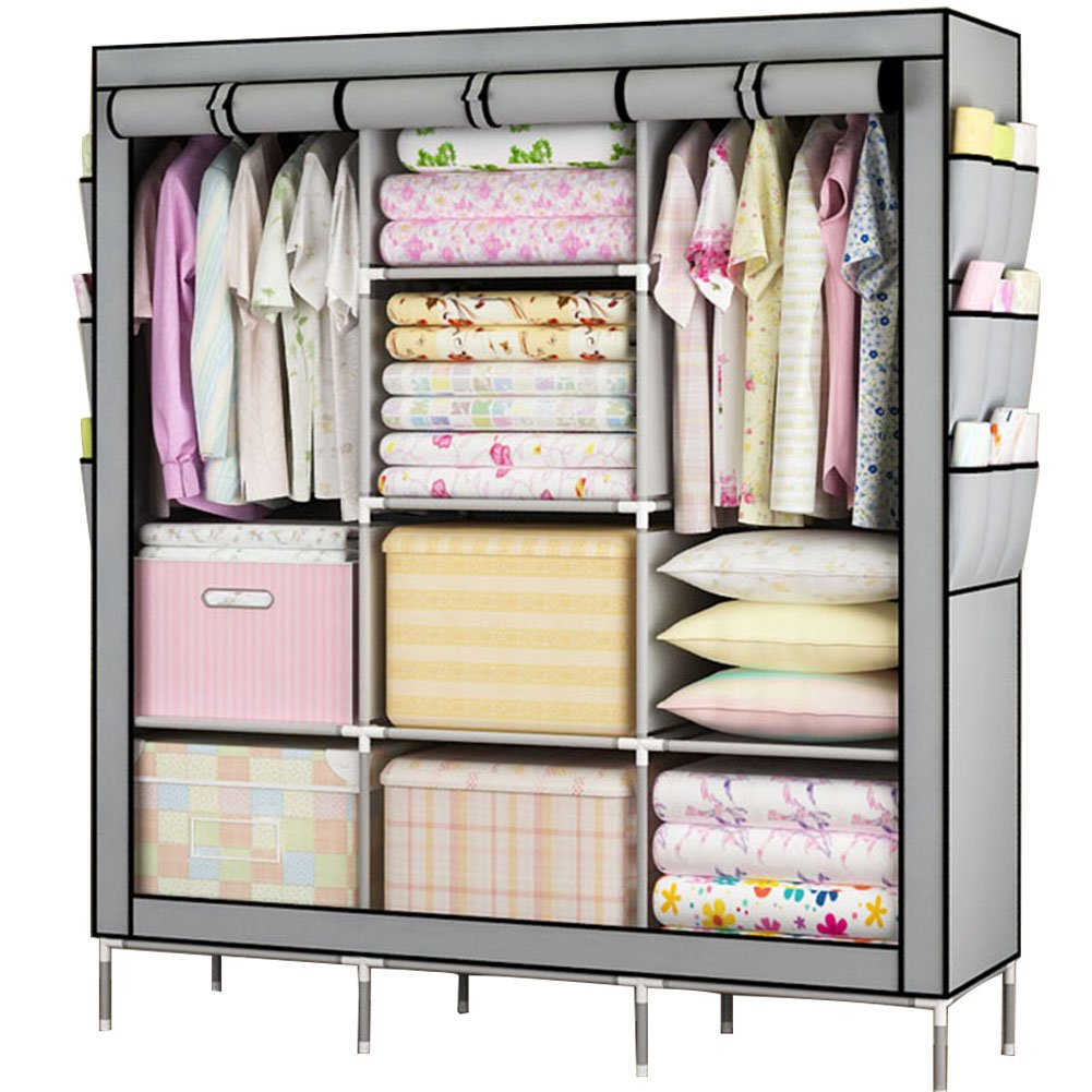 Awkli Portable Wardrobe Multilayer Sturady Durable Stroage Cabinet Non-woven Fabric Closet Shelves 69\